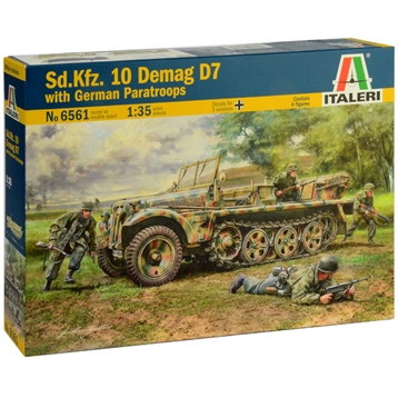 Sd.Kfz. 10 Demag D7 Half-Track with German Paratroop Figures (Scale 1:35)