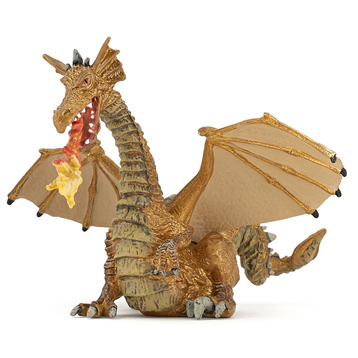 Fantasy World Gold Dragon with Flame Figure