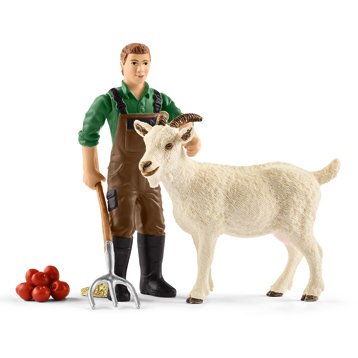 Farm World Farmer with Goat Figure Pack